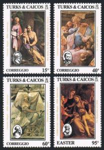 Turks & Caicos 614-617,618,MNH.Mi 694-697,Bl.49. Easter-1984.Antonio A.Correggio