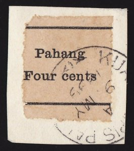 MALAYA - STATES Pahang : 1899 Pahang Four Cents plain paper PHOTO CERTIFICATE.
