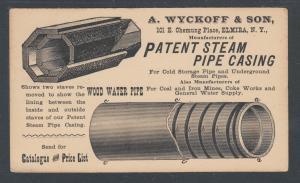 US Sc UX9 1891 Illustrated Advertising Card, Steam Pipe Mfg, Elmira, NY