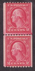 US Sc 487 MNH. 1916 2c carmine Washington Coil, Joint Line Pair