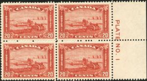 CANADA #175 PLATE # BLOCK OF 4, XF OG NH (3) LH (1) CV $297.50 BP3675