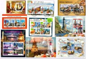 Lighthouses, Shells x 9 Souvenir Miniature Sheets CTO Used