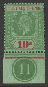 GILBERT & ELLICE ISLANDS 1922 KGV 10/- wmk script, control no 11. MNH **.