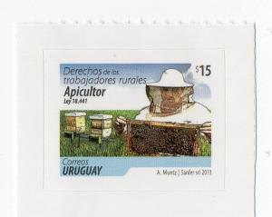 Bee insects beekeeping honey extraction  NOVELTY URUGUAY MNH STAMP