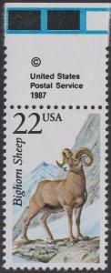 US 2288 North American Wildlife Bighorn Sheep 22c copyright single T MNH 1987