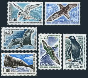 FSAT 58-63,MNH.Michel 103-108. Antarctic 1976. Birds,Penguins.Sea lions,Weddell.