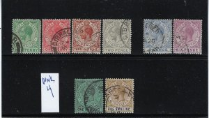 GIBRALTAR SCOTT #76-79/81-84  1921-32 GEORGE V PARTIAL  SET -WMK 4- USED