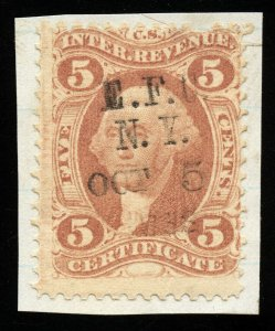 B540 U.S. Revenue Scott R24c 5c Certificate on piece, multiline handstamp cancel