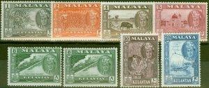 Kelantan 1961-63 set of 8 SG96-102 V.F Lightly Mtd Mint