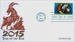 NEW 2015, Year of the Ram, Black and White, FDC, Item 15-023