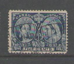 Canada Sc 54 1897 5c Victoria Jubilee stamp used flag cancel