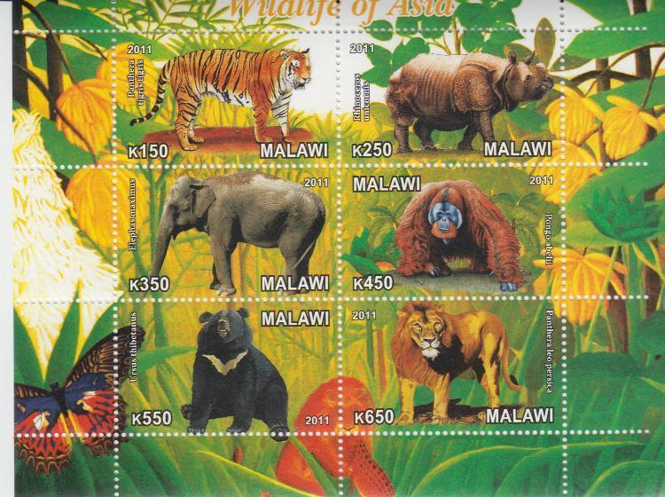 Malawi 2011 M/S Wildlife of Asia Animals Mammal Tiger Monkey Elephant Stamps MNH