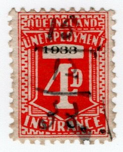 (I.B) Australia - Queensland Revenue : Unemployment Insurance 4d (1933)