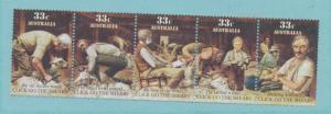 Australia Scott #987A Strip of 5, Mint Never Hinged MNH, Sheep Shearers Issue...