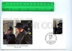 242072 MARSHALL ISLANDS WWII Prime Minister Churchill Resign 1995 year FDC