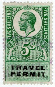 (I.B) George V Revenue : Travel Permit 5/-