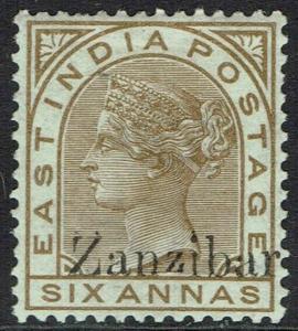 ZANZIBAR 1895 QV INDIA 6A