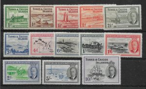 TURKS & CAICOS ISLANDS SG221/33 1950 DEFINITIVE SET MTD MINT
