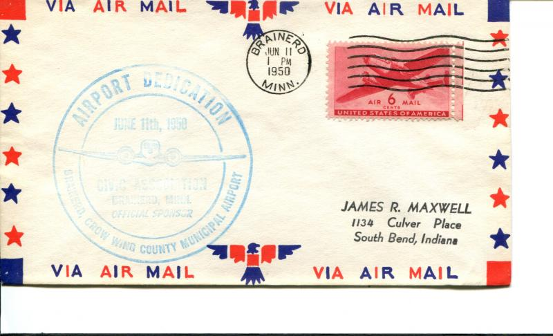 USA SC# C25 Brainerd County Muni  Airport Dedication Patriotic Cover