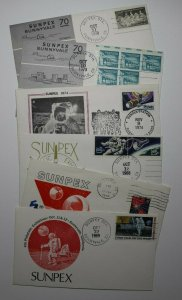 SUNPEX Multi Years Sunnyvale CA Space Philatelic Expo Cachet Cover