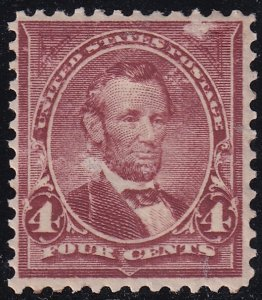 US STAMP #280 Series of 1898-99 4¢ Lincoln MH/OG scraped