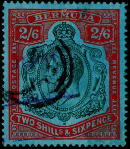 BERMUDA SG89f, 2s 6d black & carmine, USED. Cat £350. DAMAGED LEAF BOTTOM RIGHT.