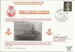 HMS Leeds Castle official Navy cover. Signed by Lt Cdr G M Davenport RN. M765