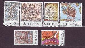 J23138 JLstamps 1991 sweden set mnh #1861-6 maps