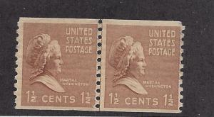 United States, 840, M. Washington Coil Jt.Line Pair,**MNH**