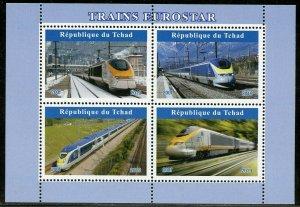 CHAD  2019  EUROSTAR TRAINS  SHEET  MINT NEVER HINGED