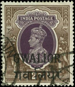 India, Convention States, Gwalior Scott #113 Used