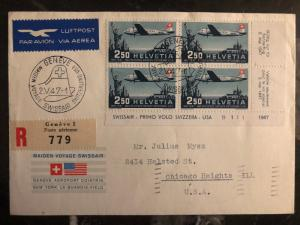 1947 Geneva Switzerland First Flight Cover FFC to USA Swissair # C42 block 4 FDC