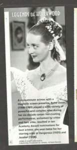 LEGENDS OF HOLLYWOOD 4350 Bette Davis Panel (NO STAMPS)  FREE SHIPPING
