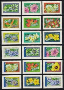 Vanuatu Flowers 18v Self-adhesive COMPLETE High Face and Cat Value SG#973-982h