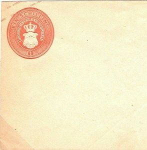 German States MECKLENBURG Unused Stationery Envelope 1 Schilling c1855 SO10