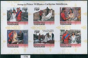 TOGO - ERROR, 2011 IMPERF SHEET: Wedding of Prince Williams & Kate Middleton