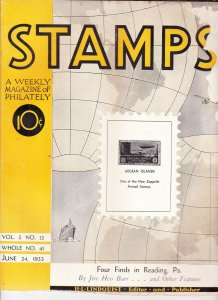 Stamps Weekly Magazine of Philately June 24, 1933 Stamp Collecting Magazine