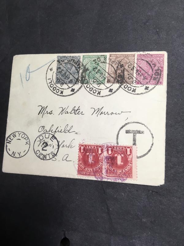 India to USA 1932 Cover From Kodoli to New York 2c Post Due Charged - Colourful