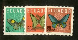 ECUADOR 711-713 MNH SCV $5.25 BIN $2.75 BUTTERFLIES