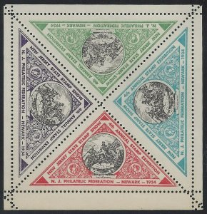 1934 New Jersey 4th Annual Stamp Exhibition Blk4 Cinderella Poster Stamps MNH