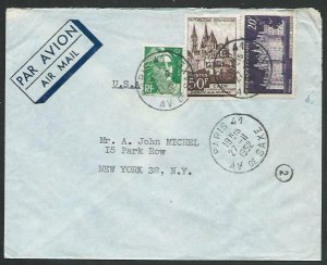 FRANCE 1952 Airmail cover to USA - nice franking...........................58071