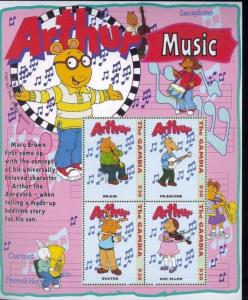 ARTHUR Music Commemorative Sheet of 4 - Gambia E119