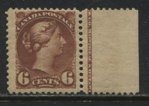 Canada 1888 6 cent red brown mint o.g. hinged with sheet margin
