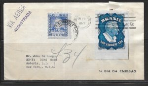 Brazil C76 1949 Roosevelt single First Day Cover FDC Registered to US