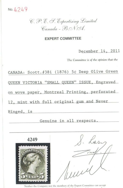 Canada #38i Mint Fine - Very Fine Never Hinged **With Certificate**