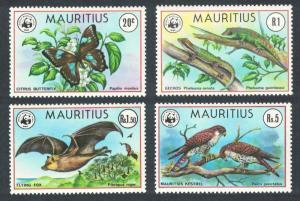 Mauritius Birds WWF Falcons Butterfly Bat Lizard Endangered Species 4v