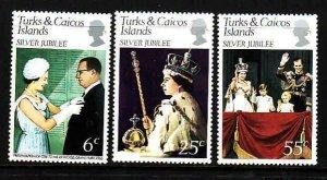 Turks & Caicos Is.-Sc#321-3- id5-unused NH set-QEII-Silver Jubilee-1977-