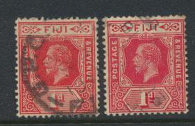 Fiji SG 127 and SG 127a   Used  ( Carmine & Brt Scarlet)