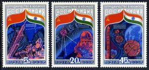 USSR Russia 1984 India Intercosmos Cooperative Space Program Stamps Mi 5371-5373
