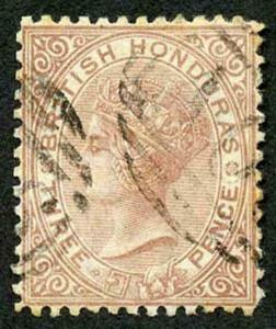 British Honduras SG7 3d Red Brown Wmk crown CC Perf 12.5 used (traces of toning)